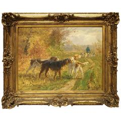 Antique French Oil Painting, Signed Marie Calves, Early 1900s