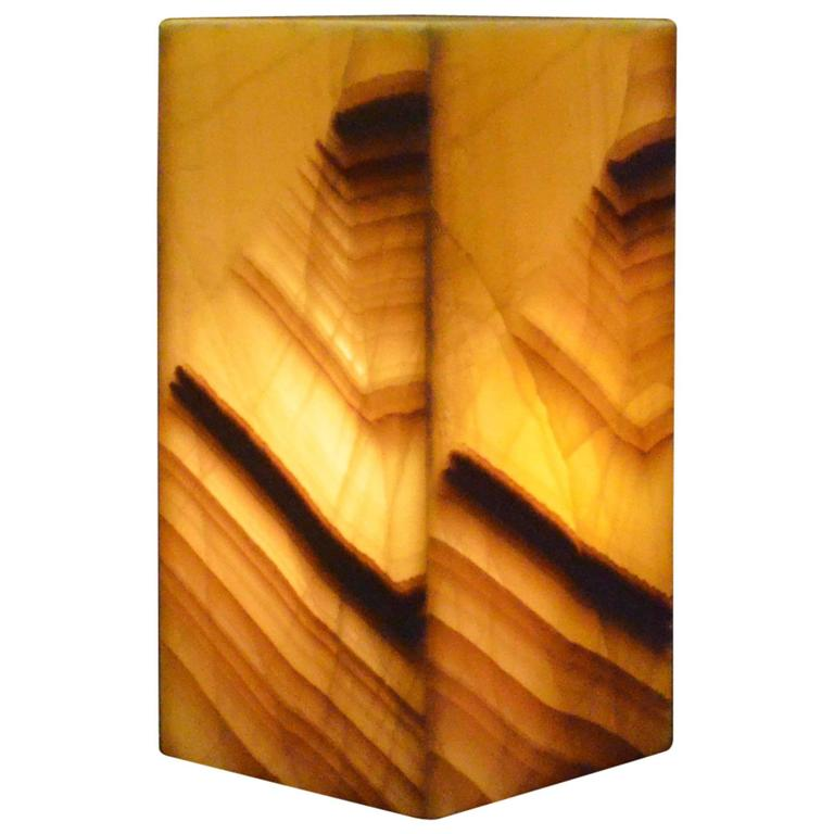 Square Base Onyx Table Lamp For Sale