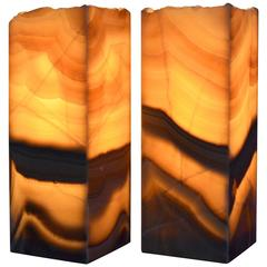 Square Base Onyx Table Lamp