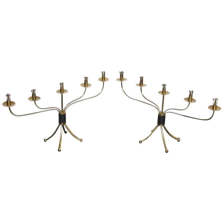 Pair of Swedish Brass Mid-Century Candelabras Candleholders