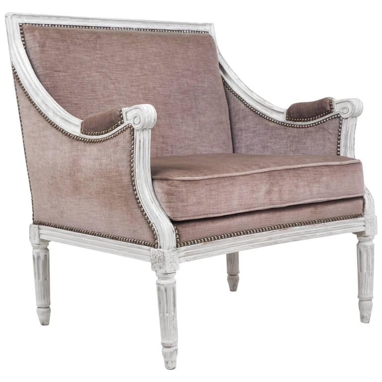 French Antique Louis XVI Lilac Velvet BergèRe Marquise For Sale