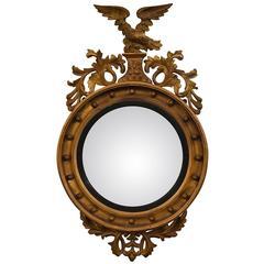 Antique English Convex Mirror, circa 1815-1830