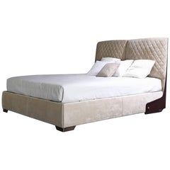 Premium Bed with Smooth Leather and Matlassé Upholstery Headboard
