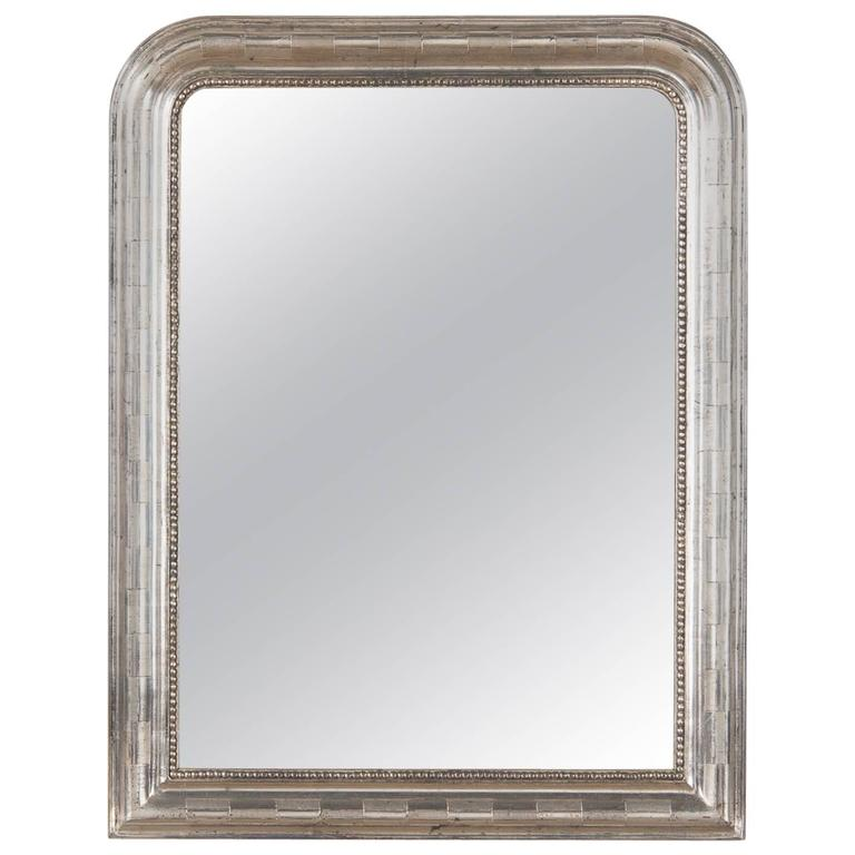 Antique French Louis Philippe Silver Gilt Mirror, 19th Century For Sale