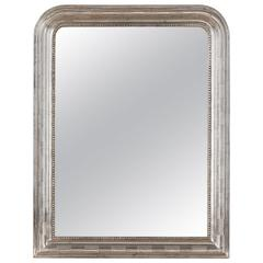 Antique French Louis Philippe Silver Gilt Mirror, 19th Century