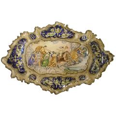 Hand-Painted French Platter Depicting a Mythological Scene, 1900s