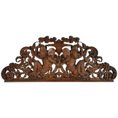 Late 19th Century Swiss Carved Wood Black Forest over Door Carving with Monkeys
