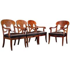 Set of Four Danish 19th Century Neoclassical Armchairs