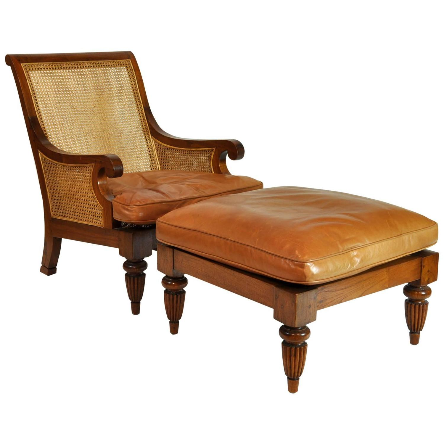 British Colonial Imports Caned Leather Plantation Style Lounge Chair And Ottoman At 1stdibs