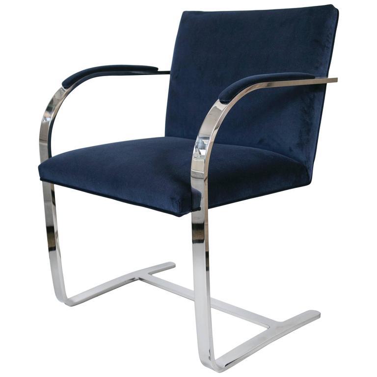 Flat Bar Brno Chair in Navy Velvet For Sale