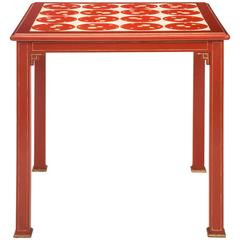 Hanna Krazeisen, Rare German Ceramic Tile, Red Lacquer and Gilt Table