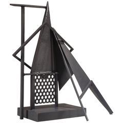 """Robert Jacobsen, Black Painted Large """"Concrete"""" Iron Sculpture"""