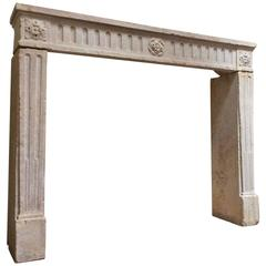 Louis XVI Style Antique Limestone Mantel