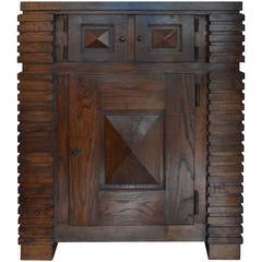 Henry Jacques Le Même Cubic Cabinet, Fumed Oak, circa 1930