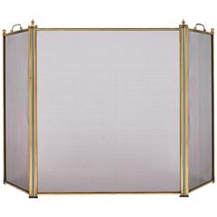 French Vintage Brass Fire Screen