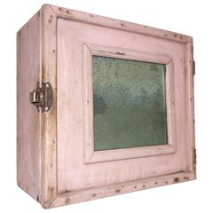Adorable Pink Traveling Medicine Cabinet with Perfectly Oxidized Mirror