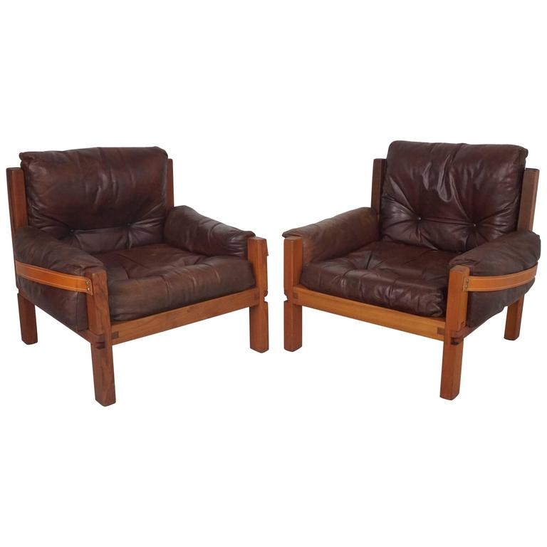 Pair of Leather Club Chairs by Pierre Chapo