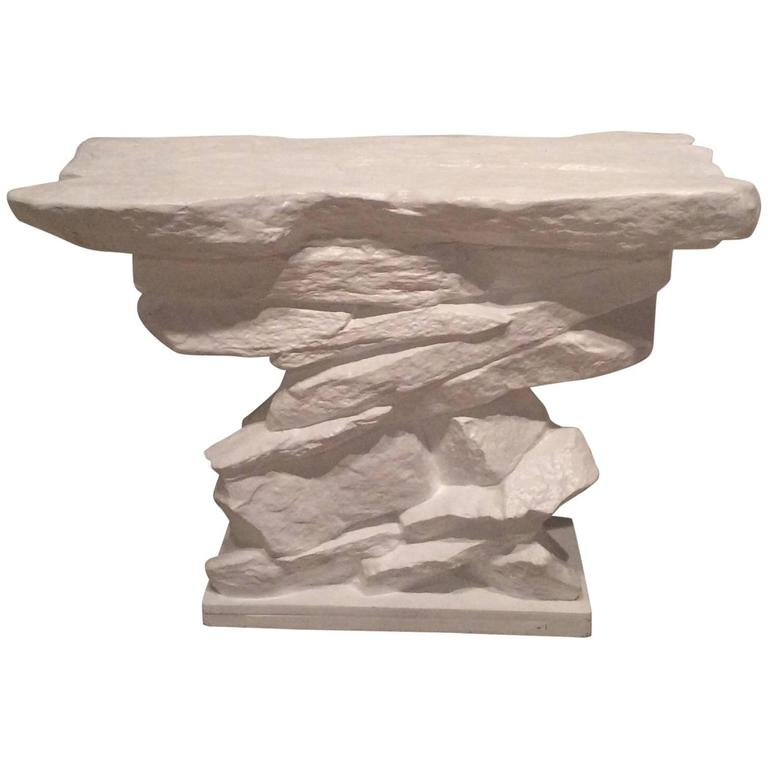 Vintage Sirmos Stacked Rock Stone Console Table Mid Century Modern Quarry 1