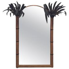 Palm Beach Frond Leaf Wall Mirror Vintage Metal Tole Tropical Island Arched