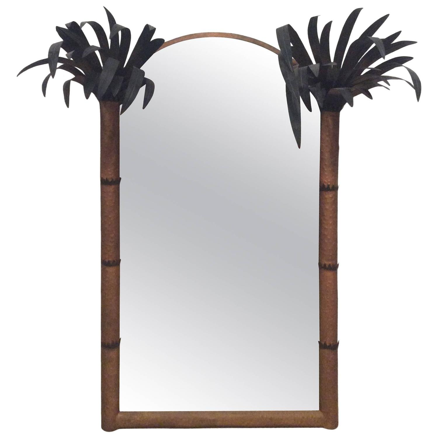 Arched gilt mirror at 1stdibs - Palm Beach Frond Leaf Wall Mirror Vintage Metal Tole Tropical Island Arched For Sale At 1stdibs