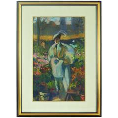 """""""Marché Aux Fleurs"""" a Pastel by Louis Fortuney"""