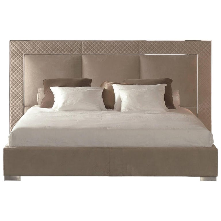 Sigma Bed with Low Headboard, Leather Upholstery Bronze or Steel Frame For Sale