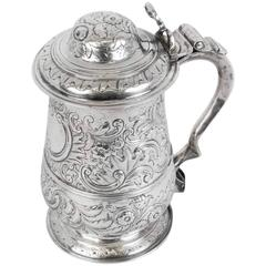 Antique George III Silver Tankard, London, 1773