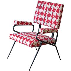 Italian Houndstooth Fabric Lounge Chair, 1950s