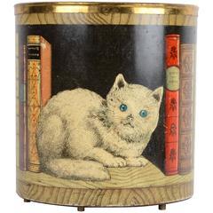 Piero Fornasetti, Waste Paper Bin, Motif of Cat, Mid-1900s