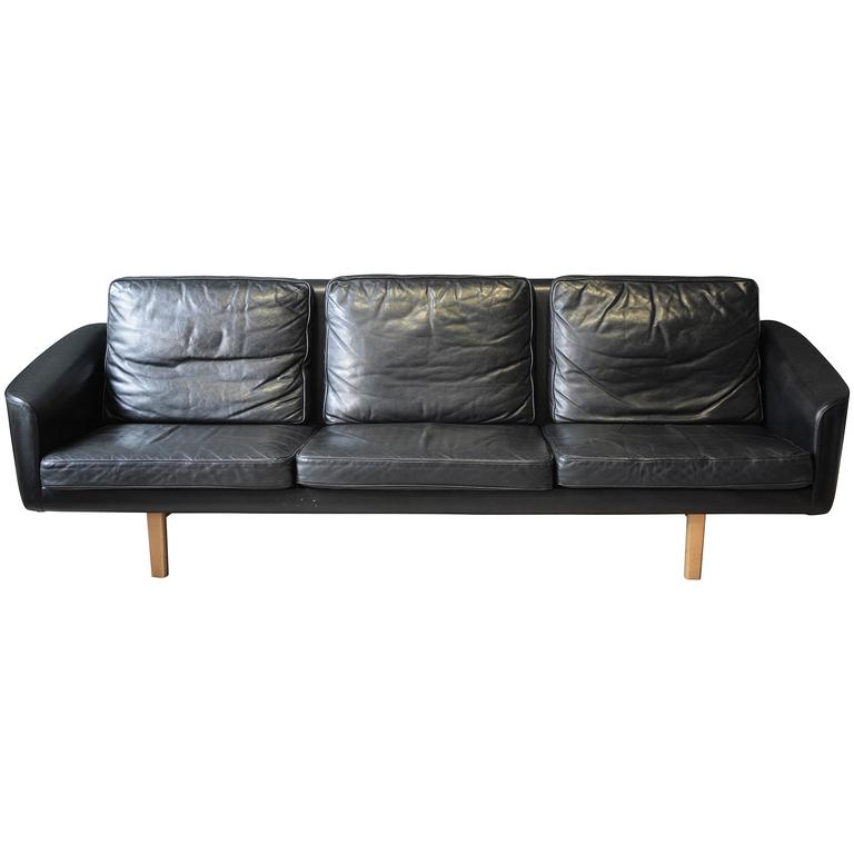 Swedish Three Seat Leather Sofa By Lennart Bender For Ulferts 1960s