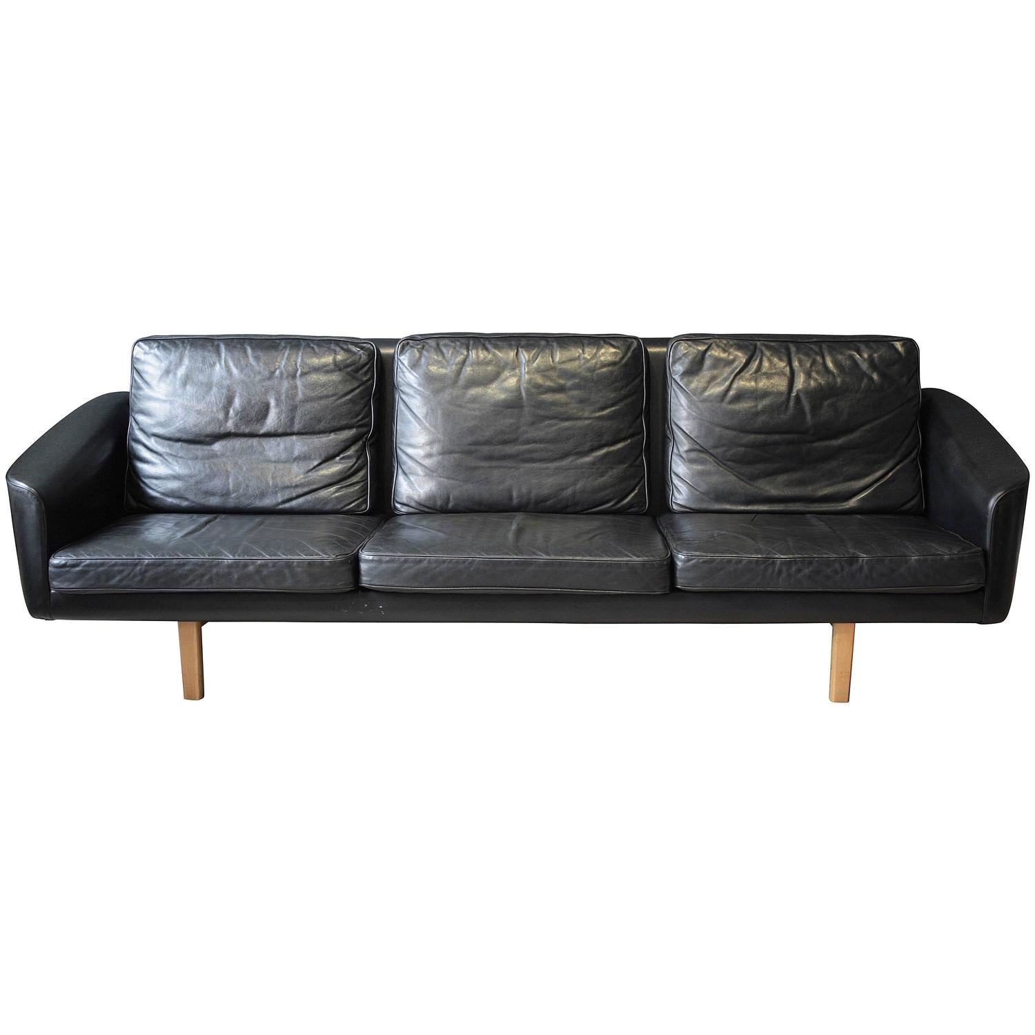 Swedish Three Seat Leather Sofa by Lennart Bender for Ulferts