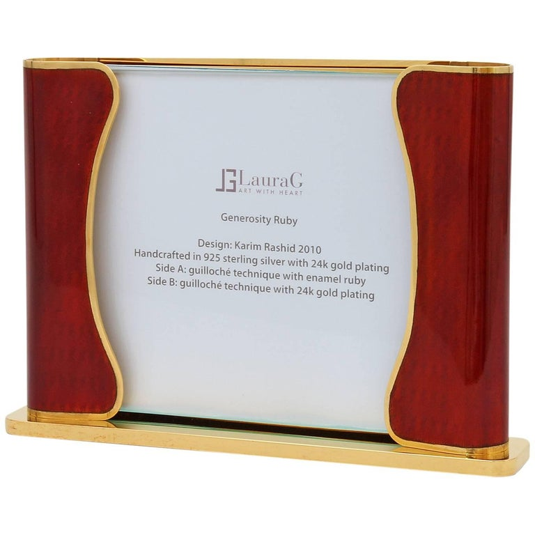 Art Deco Italian Handcrafted Picture Frame with Ruby Enamels, Generosity Ruby For Sale