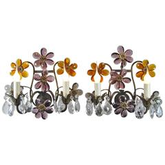 Antique French Bronze Wall Sconces, Pair with Cut Crystal Floral Design Details