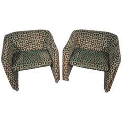 French Patterned Armchairs, 1970s, Set of Two