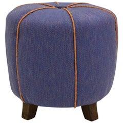 Art Deco Vintage Blue Austrian Art Deco Pouf, 1930s Beech Fabric