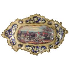 Hand-Painted French Platter Depicting an English Hunt Scene, 1900s