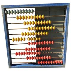 Colorful Children's Antique Abacus from Japan in Brilliant Red, Blue and Yellow
