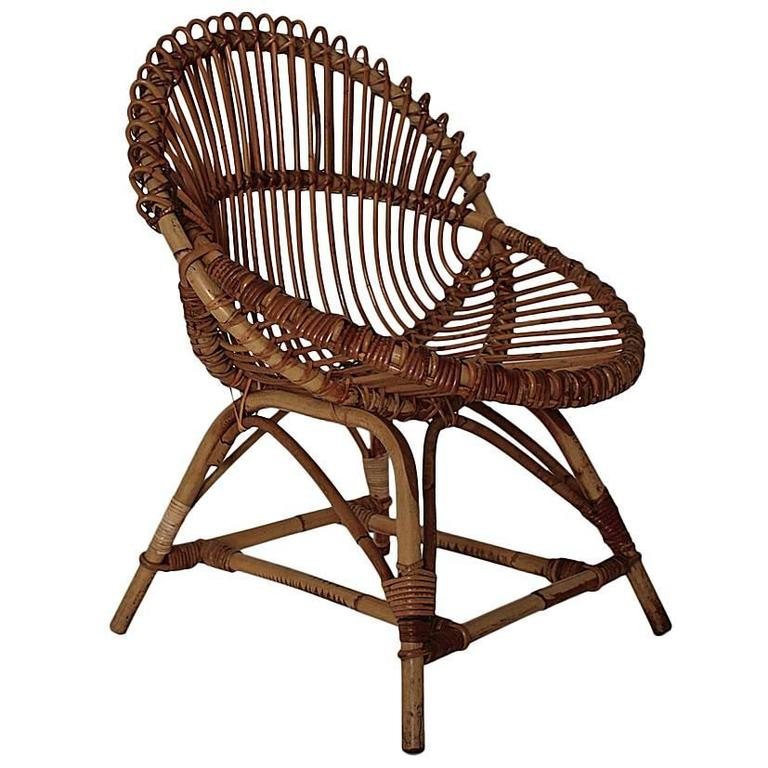Rattan Chair by Janine Abraham & Dirk Jan Rol Attributed, France, 1960s