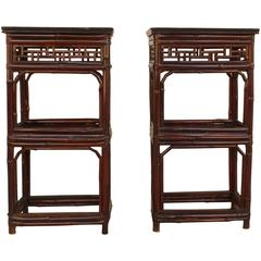 Pair of Bamboo End Tables