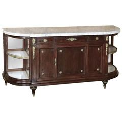 19th Century French Louis XVI Style Marble-Top Ormolu Buffet by Maison Krieger