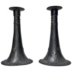 Pair of Kayserzinn Pewter Candlesticks, Germany, circa 1900