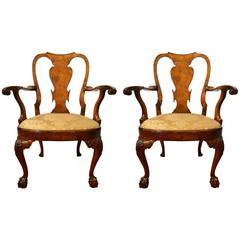 Pair of Antique 19th Century Walnut Queen Anne Armchairs