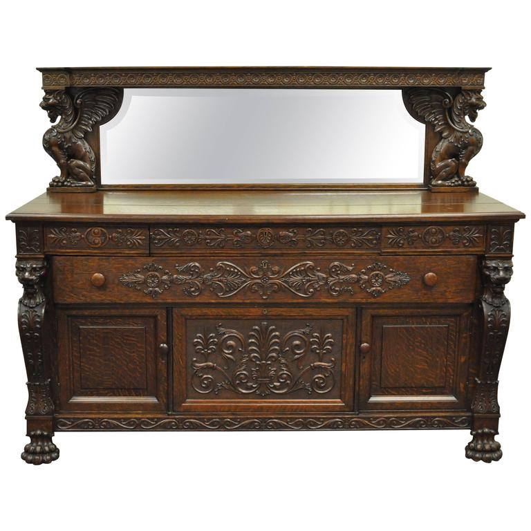 Completely new Antique Sideboard Buffet Credenza Solid Oak Heavily Carved Gothic  GB16