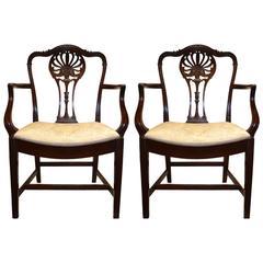 Pair of 19th Century Antique English Hepplewhite Armchairs