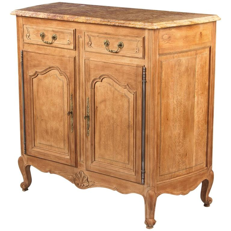 Louis XV Style Marble-Top Natural Oak Buffet, circa 1920s For Sale