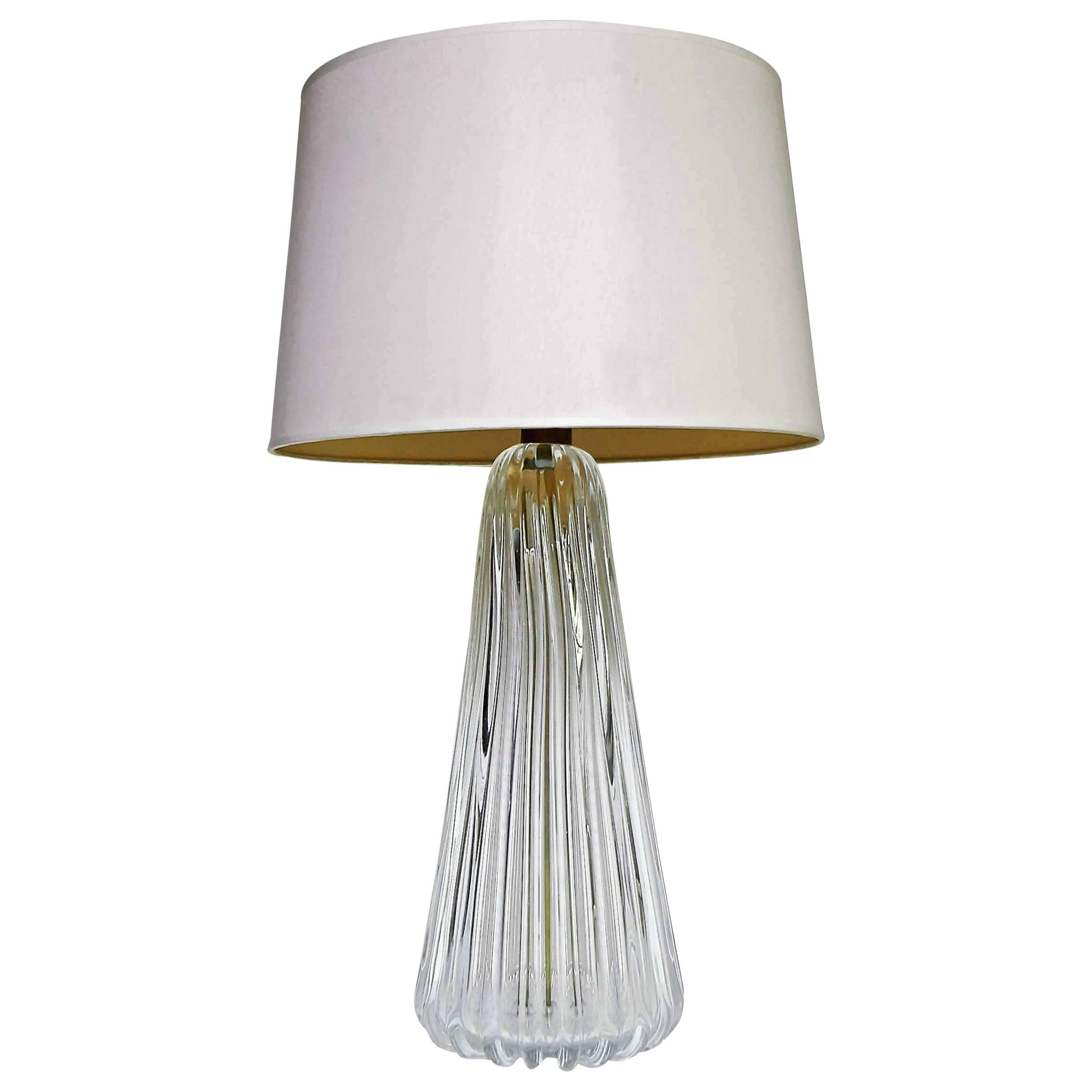Murano Italian Clear Ribbed Glass Table Lamp At 1stdibs