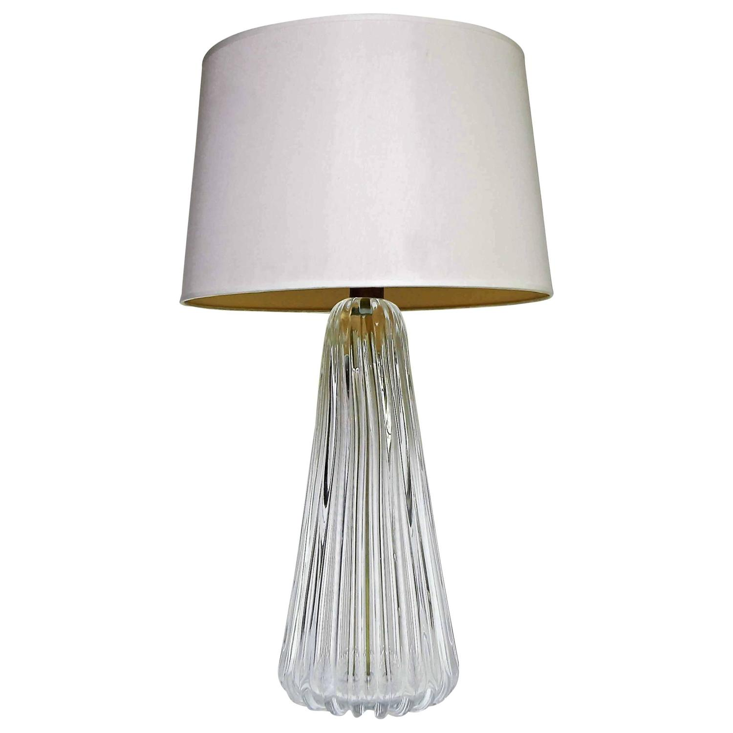 murano italian clear ribbed glass table lamp for sale at 1stdibs. Black Bedroom Furniture Sets. Home Design Ideas
