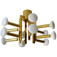 Rare Vintage Twelve-Arm Modernist Ceiling Light Chandelier, Italy, 1960s