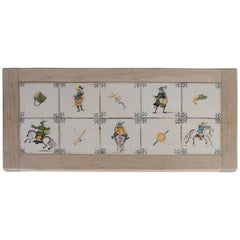 Antiques Delft Tiles Inset in a Wood Frame