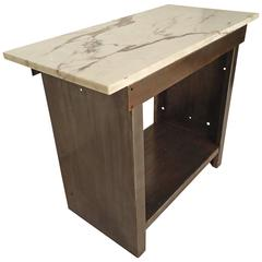Industrial Marble-Top Table